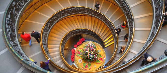 Vatican museums famous spiral steps by Bokeh & Travel, on Flickr - https://www.flickr.com/photos/100477852@N05/11706296773