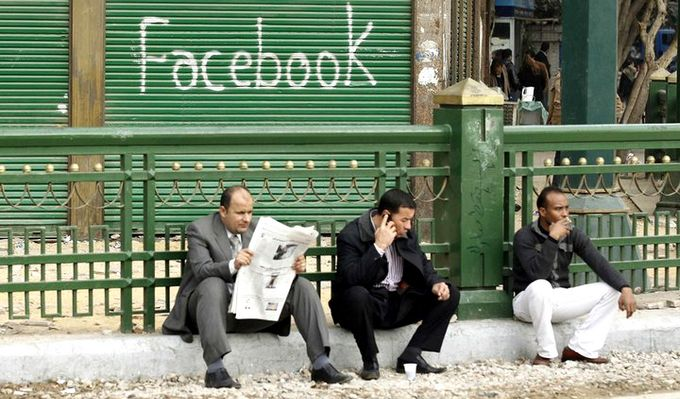 Facebook in Tahrir square by InsideOut Today, on Flickr