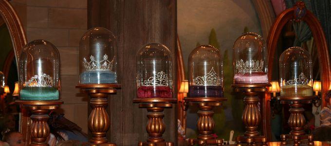 The Princess Tiaras in the Bibbidi Bobbidi Boutique in Cinderella Castle - Magic Kingdom by JeffChristiansen, on Flickr - https://www.flickr.com/photos/jeffchristiansen/2620554003